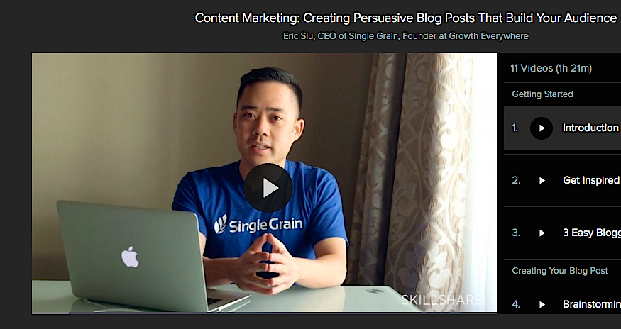 Eric Siu_Single Grain_Skillshare Course Content Marketing Promotion