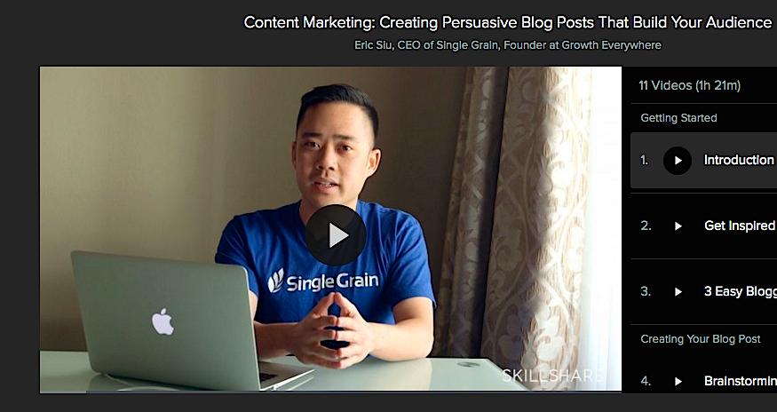 Eric Siu_Single Grain_Skillshare Course Content Marketing Promotion