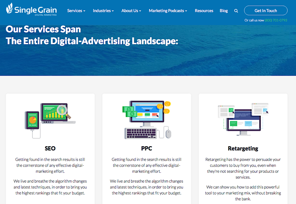 Single Grain digital marketing agency services