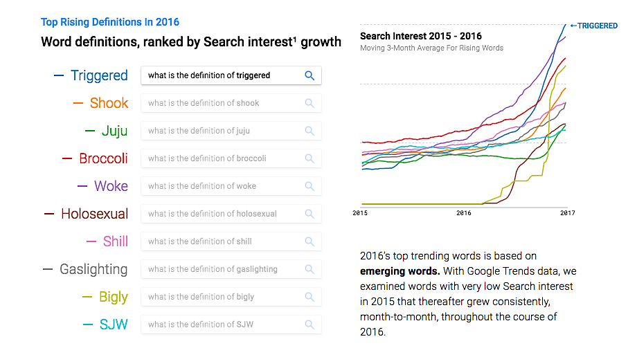 Google Trends Top Rising Definitions 2016