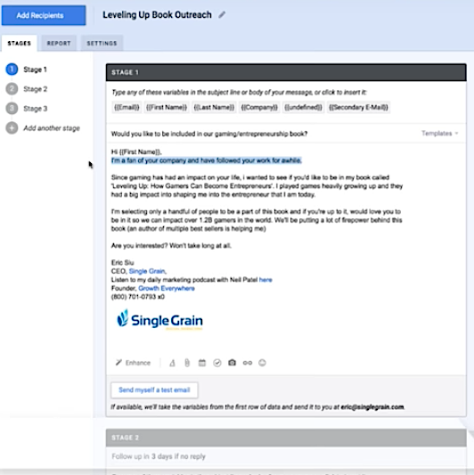 Mixmax personalize email